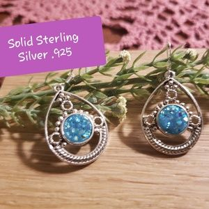 🔥 Sterling Silver .925 Sky Blue Druzy Earrings